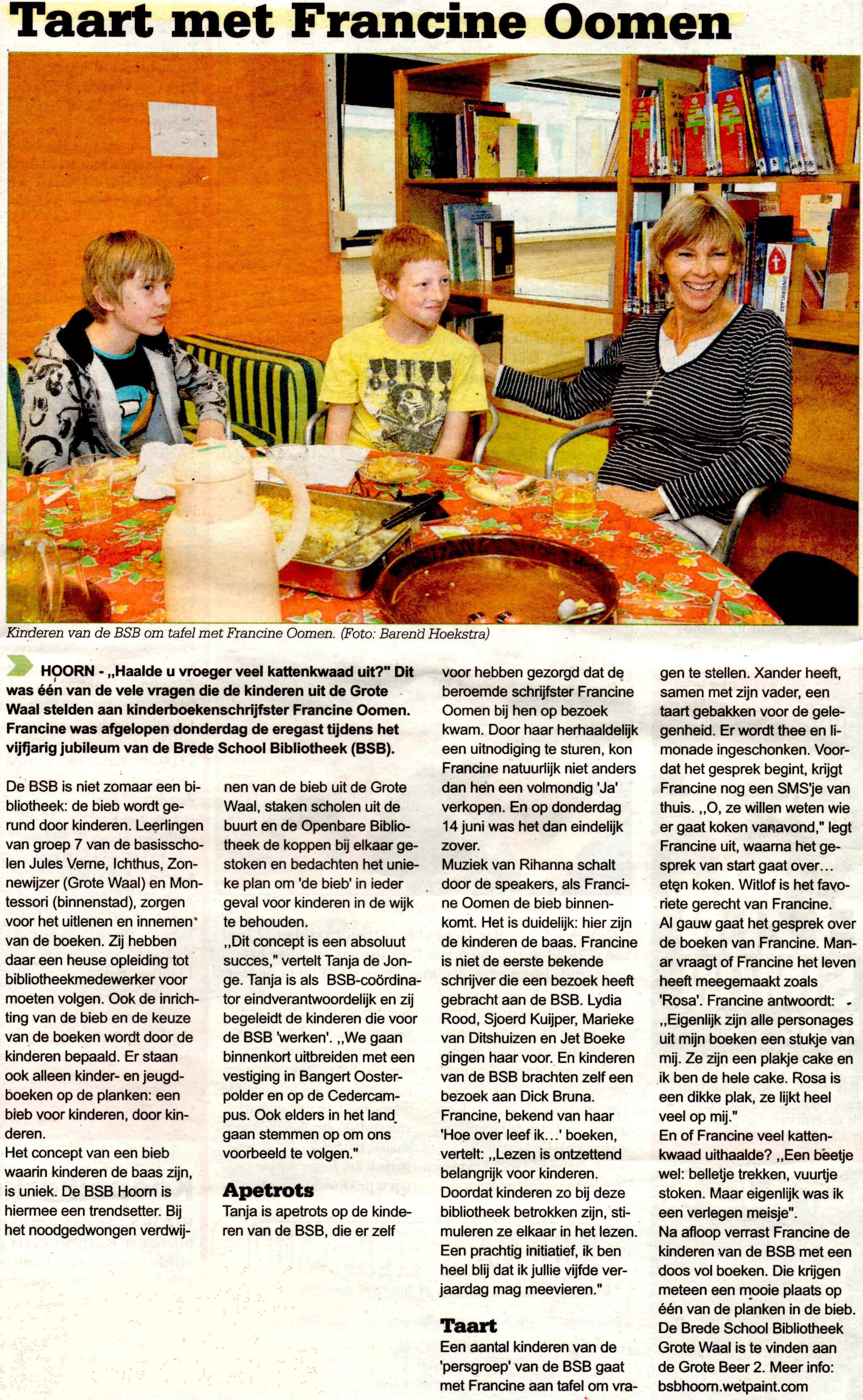 Westfries Weekblad, 20 juni 2012